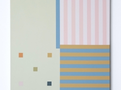 A square shaped canvas with pink on white stripes on the top right, blue on yellow stripes on the bottom right, pistachio green with colourful square on the left hand side.
