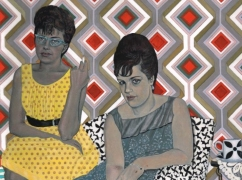 Painting of two women, one is in a yellow dress smoking and the other in a grey patterned dress. They are sitting on a black and white patterned chair. The background is a geometric pattern on a wall.