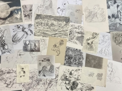 A collection of Penny Klein's drawings laid out together, some overlapping each other slightly.